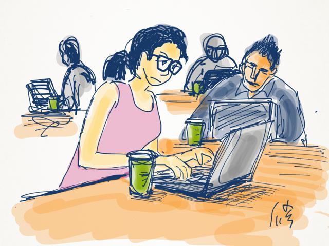 会社に寄らず、仕事はカフェで